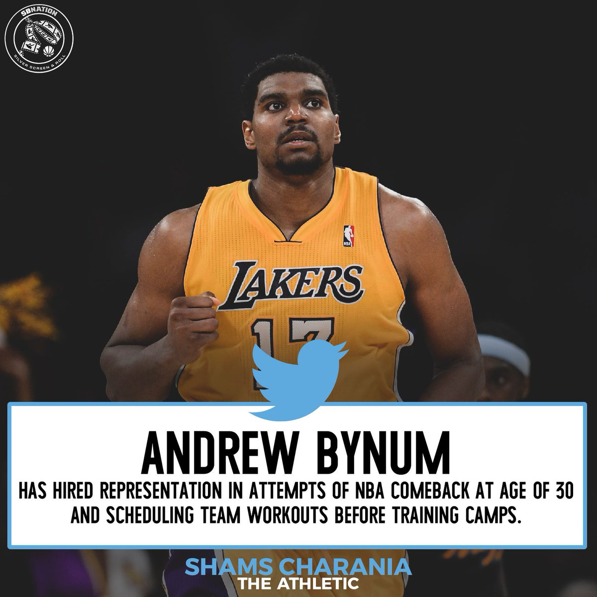 95ab2d8d602 Former Lakers center Andrew Bynum is attempting to make an NBA comeback,  and the Lakers have an open roster spot.