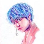 Image for the Tweet beginning: So,,, i attempted watercolor,,,,  #taehyungfanart #btsfanart