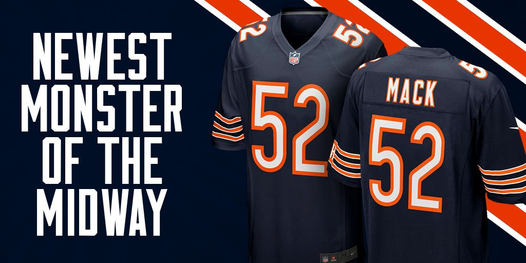 aee545c522f Suit up on Sundays with the Chicago Bears Khalil Mack Nike NFL Men s Game  Jersey https   bddy.me 2wUWhv8 pic.twitter.com KffcgQ6FiF