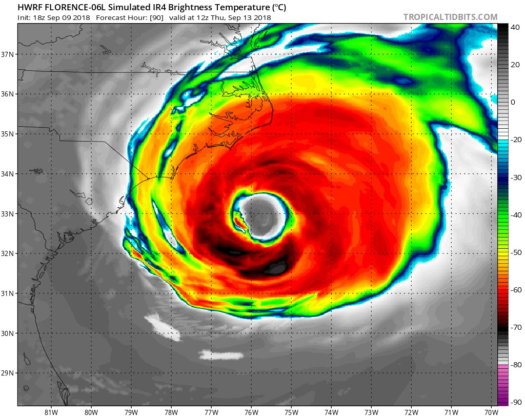 OK you guys, my intention is not to scare anyone with this message.  But Hurricane #Florence—the storm bound for North Carolina—is going to be about the size of North Carolina when it arrives.  This is what it will look like, according to the latest high-res model prediction: