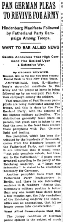 Sep 9, 1918 - New York Times: Pan-Germans try to rally urgent defense of the Fatherland #100yearsago