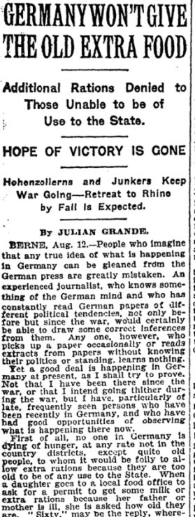 Sep 9, 1918 - New York Times: Germany won't give extra food rations to the elderly #100yearsago