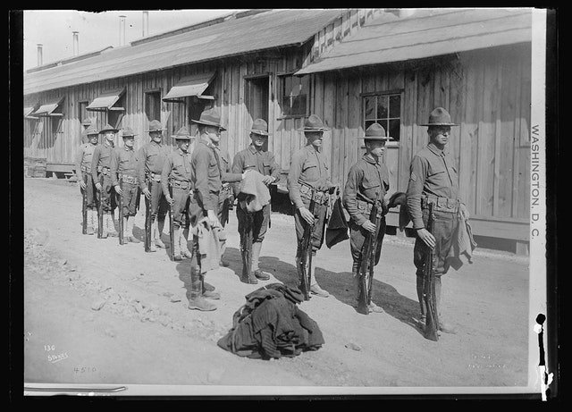 Sep 9, 1918 - Issuing Red Cross sweaters to men of the 6th U.S. Infantry at Fort Oglethrope, Georgia #100yearsago