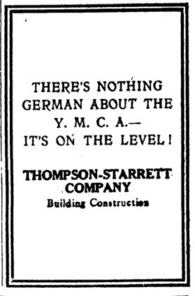 Sep 9, 1918 - New York Times: 'There's nothing German about the YMCA - It's on the level!' #100yearsago