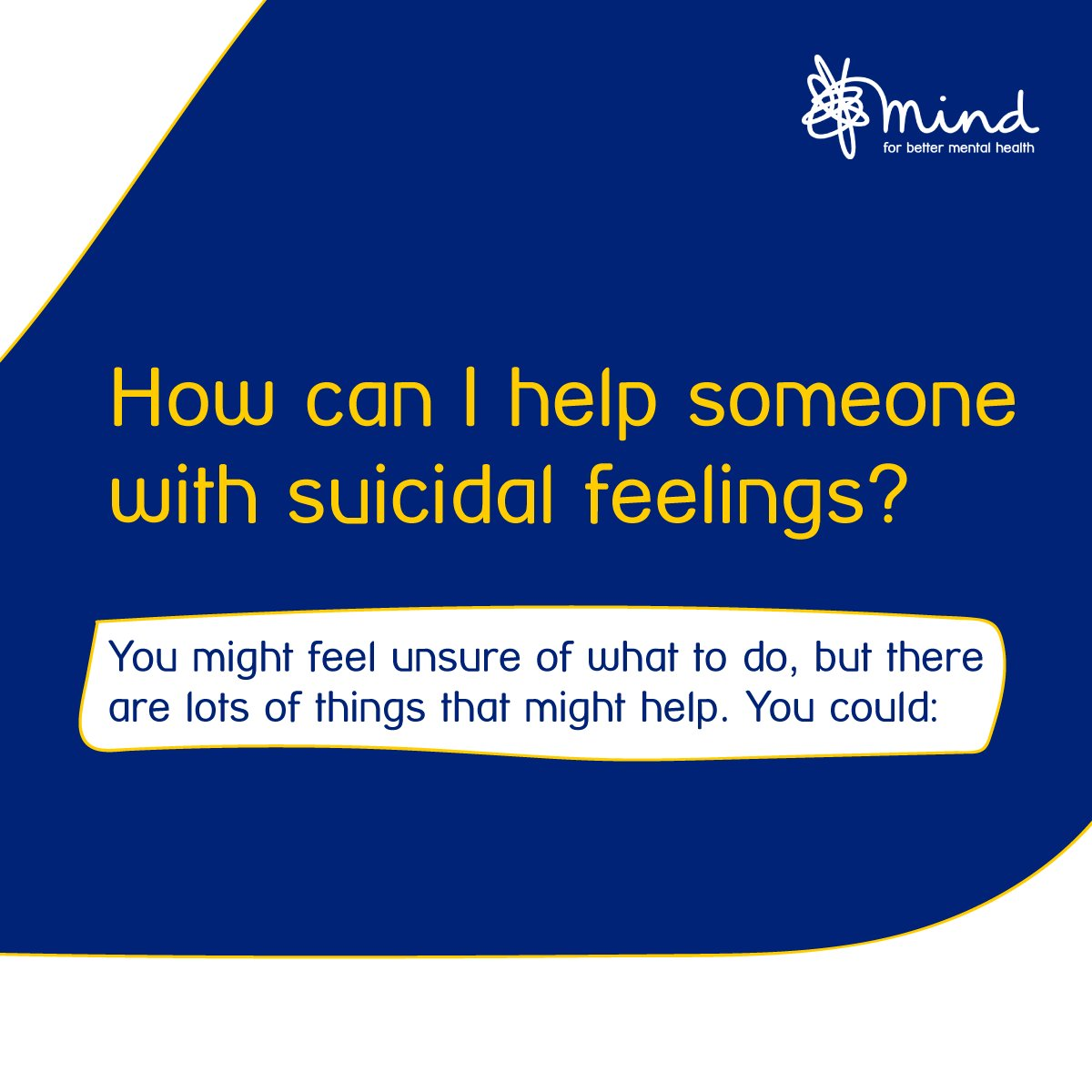 It can be distressing if youre worried about someone who feels suicidal. You may feel unsure of what to do, but there are lots of things that might help. #WSPD bit.ly/2M2dirZ