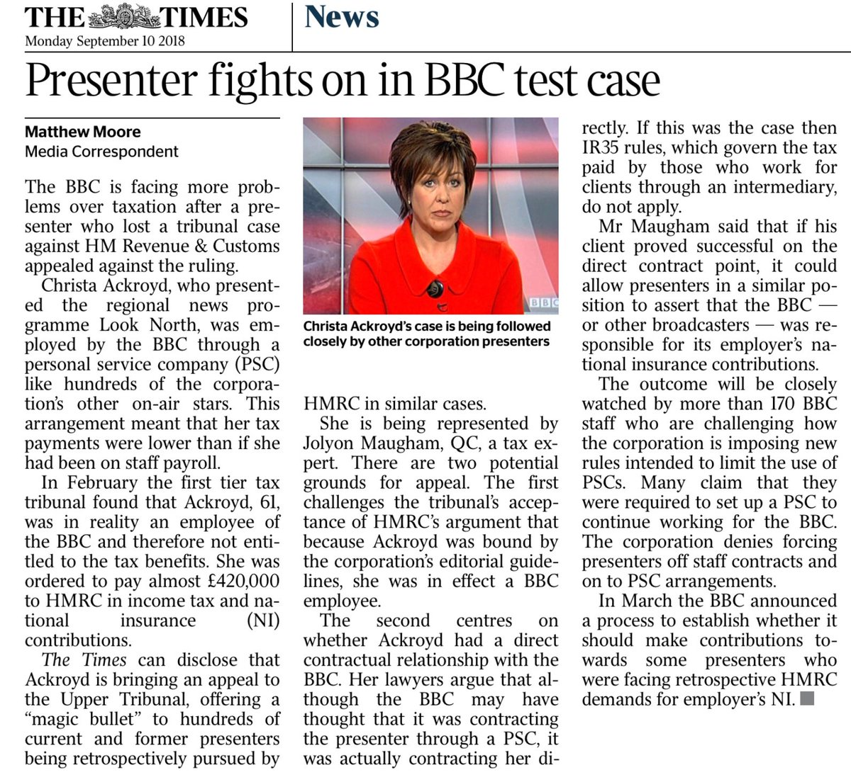 BBC faces two big challenges in presenter's appeal against employment status ruling https://t.co/B3FxEOlThz