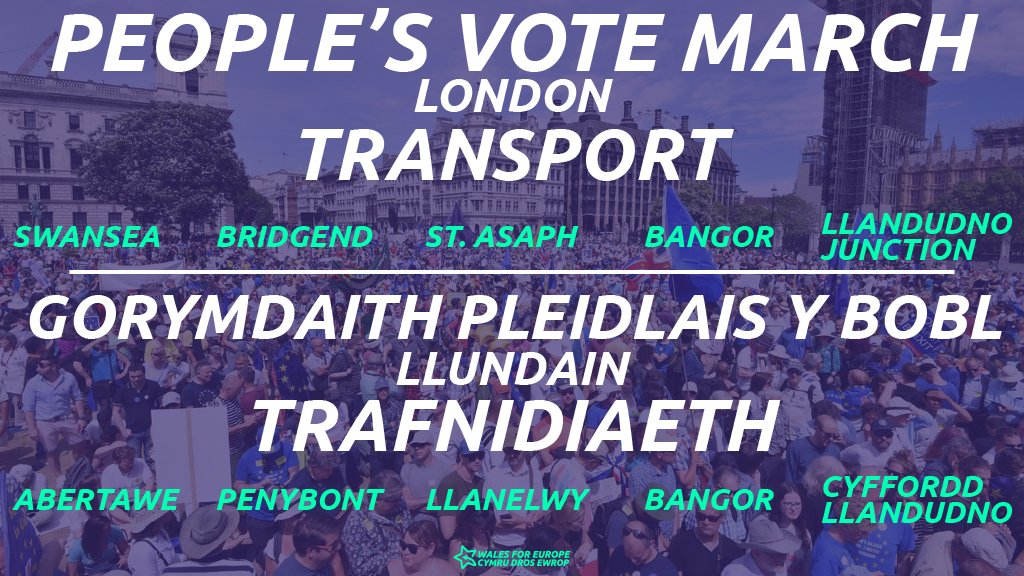 Going to #PeoplesVoteMarch in London? Our local groups have arranged buses from several locations to the march in London! SWANSEA & BRIDGEND: eventbrite.co.uk/e/coach-travel… ST ASAPH: eventbrite.co.uk/e/peoples-vote… BANGOR: eventbrite.co.uk/e/peoples-vote… LLANDUDNO JUNCTION: eventbrite.co.uk/e/peoples-vote…