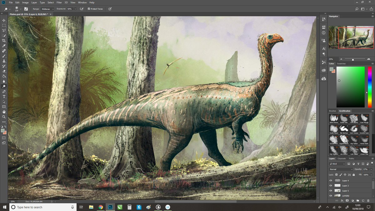 It&#39;s been quiet around these parts because of conference attendance: here&#39;s an in-progress reworking of some Plateosaurus #paleoart to get things back in gear. No fuzz - great talk by @NHMdinolab at #SVPCA2018 gave us artists a lot to chew on, looking forward to the paper. <br>http://pic.twitter.com/msf3jITVZe