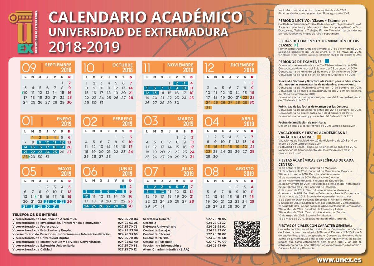 Calendario Uex.Uex On Twitter Aqui Tienes El Calendario Academico Del Curso