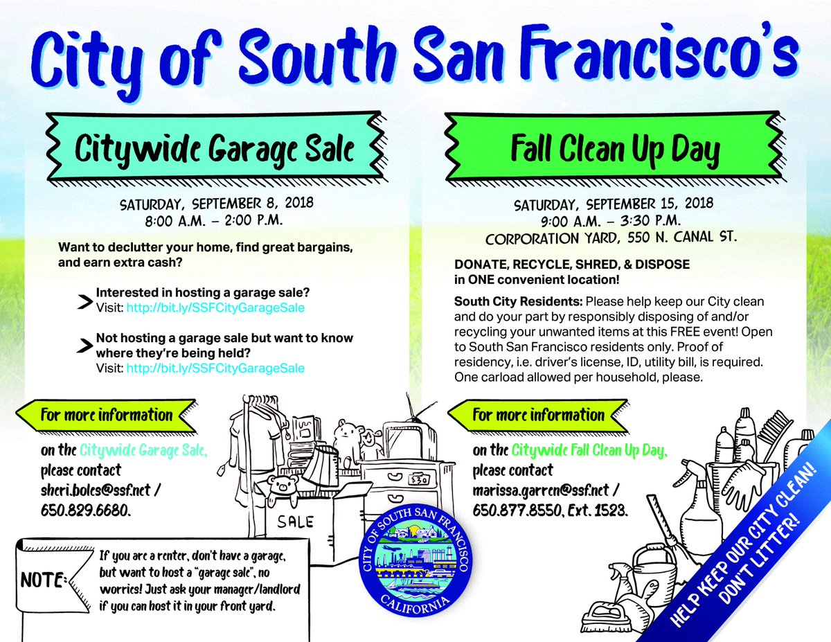 Ssf Public Works בטוויטר Don T Forget Our Citywide Fall Clean Up Event Is Happening This Saturday 9 15 At The Corporation Yard 550 North Canal St From 9 A M 3 30 P M Donate Recycle Shred