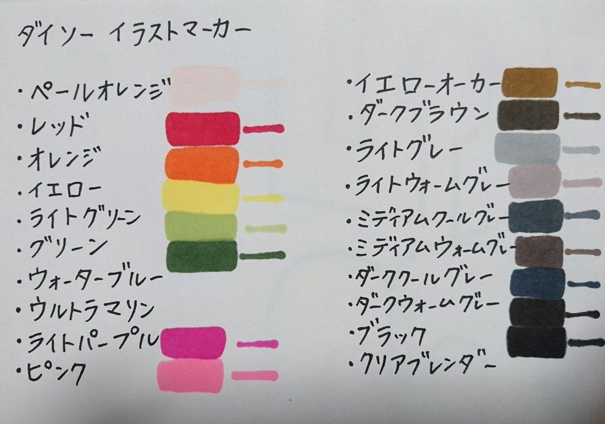 test ツイッターメディア - DAISOのイラストマーカーでカラー表作ってみた? 下手くそな字で失礼します(^_^;)  ウォーターブルーとウルトラマリンは無かったの… どこか近くのDAISOに無いかしら…? (全部彼が買ってきてくれたの…)  それにしても、下まで染みちゃうペンは馴れないなぁ??  #ダイソー  #daiso  #イラストマーカー https://t.co/hK9saqxHEX