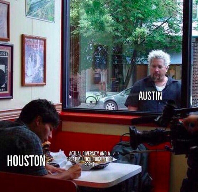 This Guy Fieri meme confirms what's been known for a while: Austin, despite its self-anointed reputation as a liberal hub, has a severe lack of racial diversity, and Houston is one of the most diverse cities in the U.S. https://t.co/VQ8pOaJF87