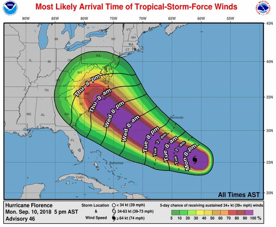 "Estado de emergencia: Lo que se sabe del ""extremadamente peligroso"" huracán Florence Dmw2b-pW0AMWHvZ"