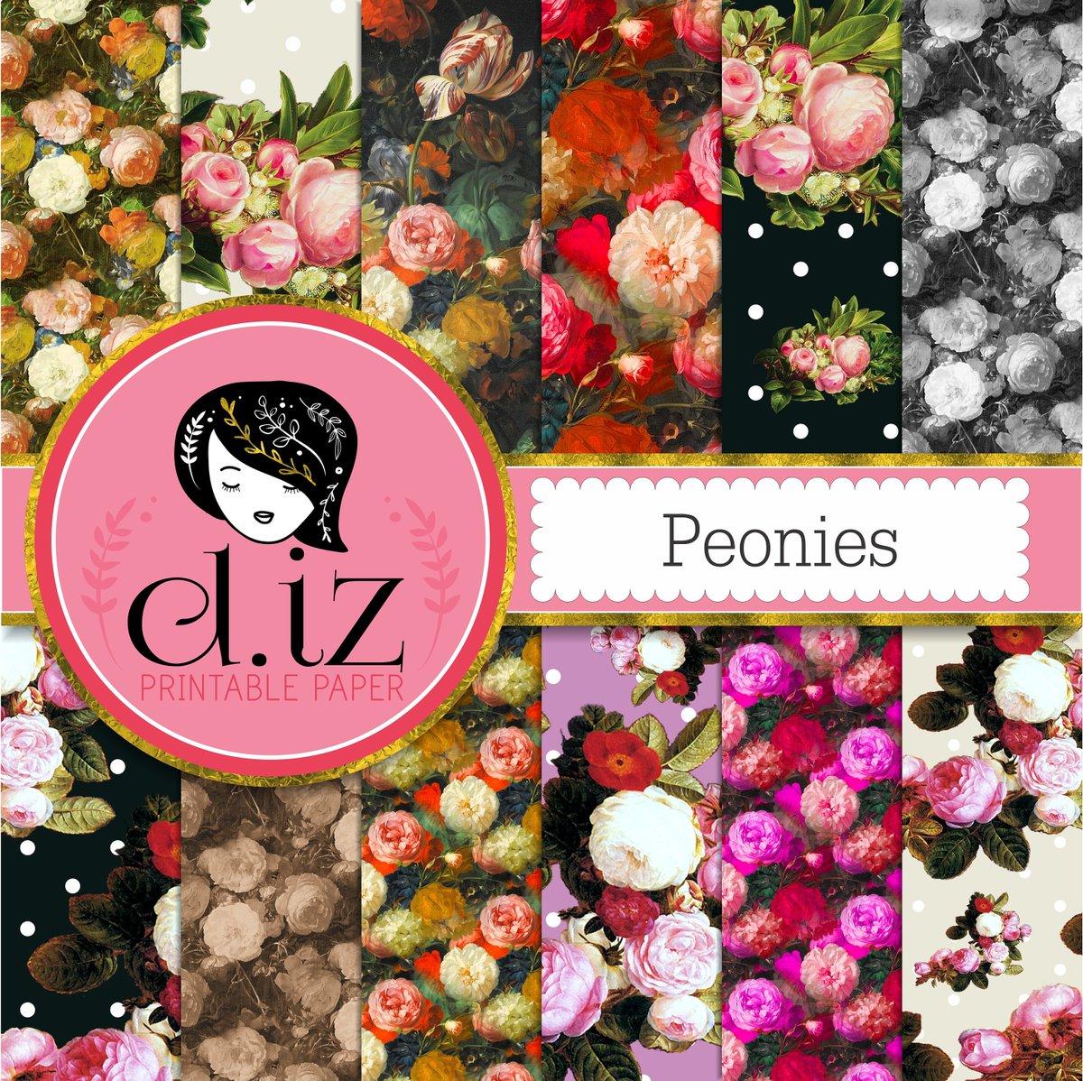 Diz On Twitter Floral Digital Paper Peonies Floral Scrapbook