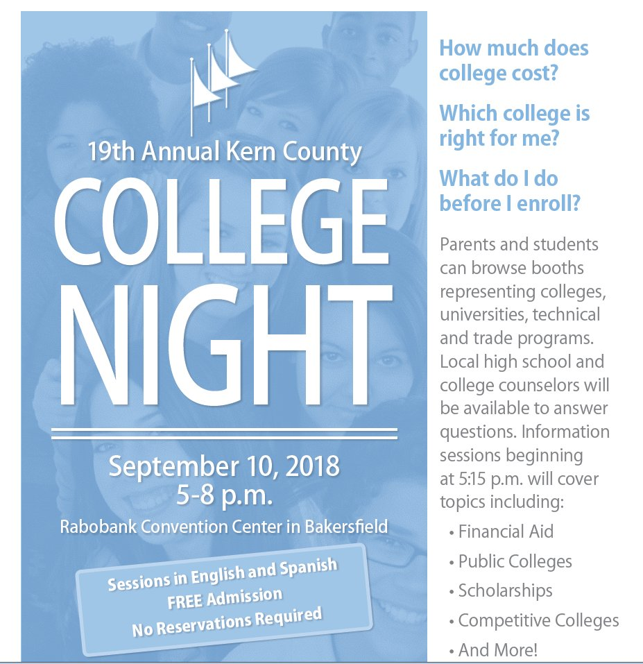 Only two hours away until the 19th annual Kern County College Night. Don't miss out on this opportunity. It's all happening from 5-8 pm at Rabobank Convention Center. See you there! @KCSOS #Preparedtosucceed
