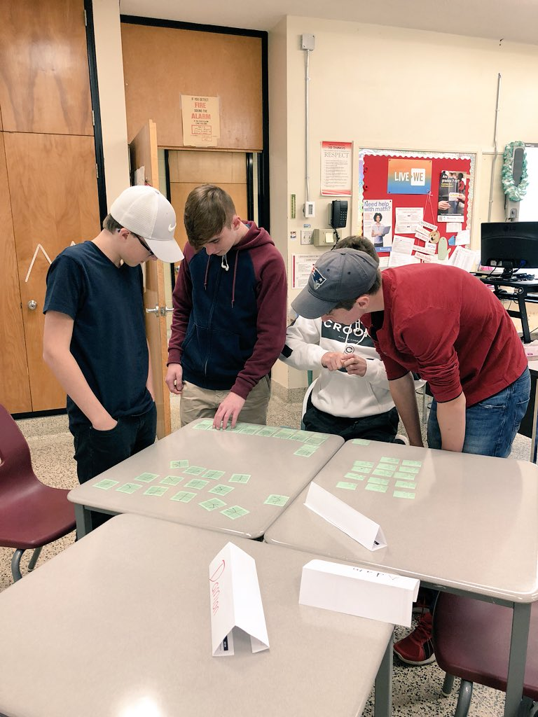 """Matching graphs of functions and relations with their domain and range BEFORE being """"taught"""" domain and range. Through discussion and reasoning, the students taught themselves! @ADHSMathDept #RCDSBMath #MCF3M #ITeachMath"""