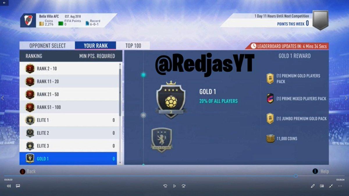 "Fifa 19 Squad Battles Rewards tom on twitter: ""new gold ranked squad battle rewards on"
