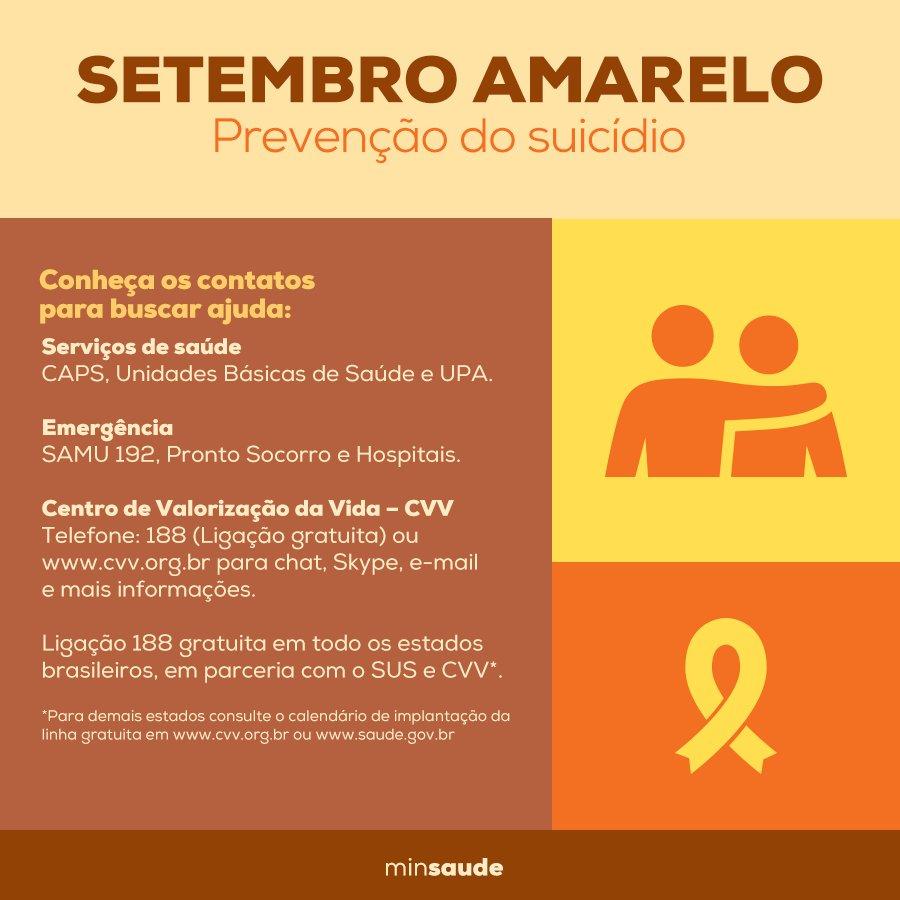 Setembro é o mês de prevenção ao suicídio. Aproveite para ficar alerta e espalhar informações úteis. #SetembroAmarelo