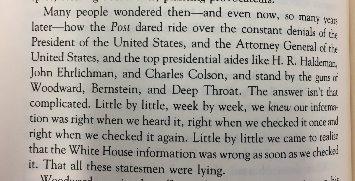 """This is from Ben Bradlee's autobiography, """"A Good Life."""" It's his account of @realBobWoodward's Watergate reporting, and the denials and denunciations it elicited from the Nixon Admin. The parallels to today are striking."""