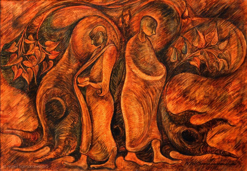 "Oil on #canvas #painting of #monks on ""Pinnapatha""  🌐👉🏻 https://www.artistsamaraweera.com/  #homes #homedecor #bedroom #lobby #reception #conferenceroom #hall #sittingarea #livingroom #officedecor #officedesign #fineart #art #decor #abstractart #abstract #followme #creative #followme"