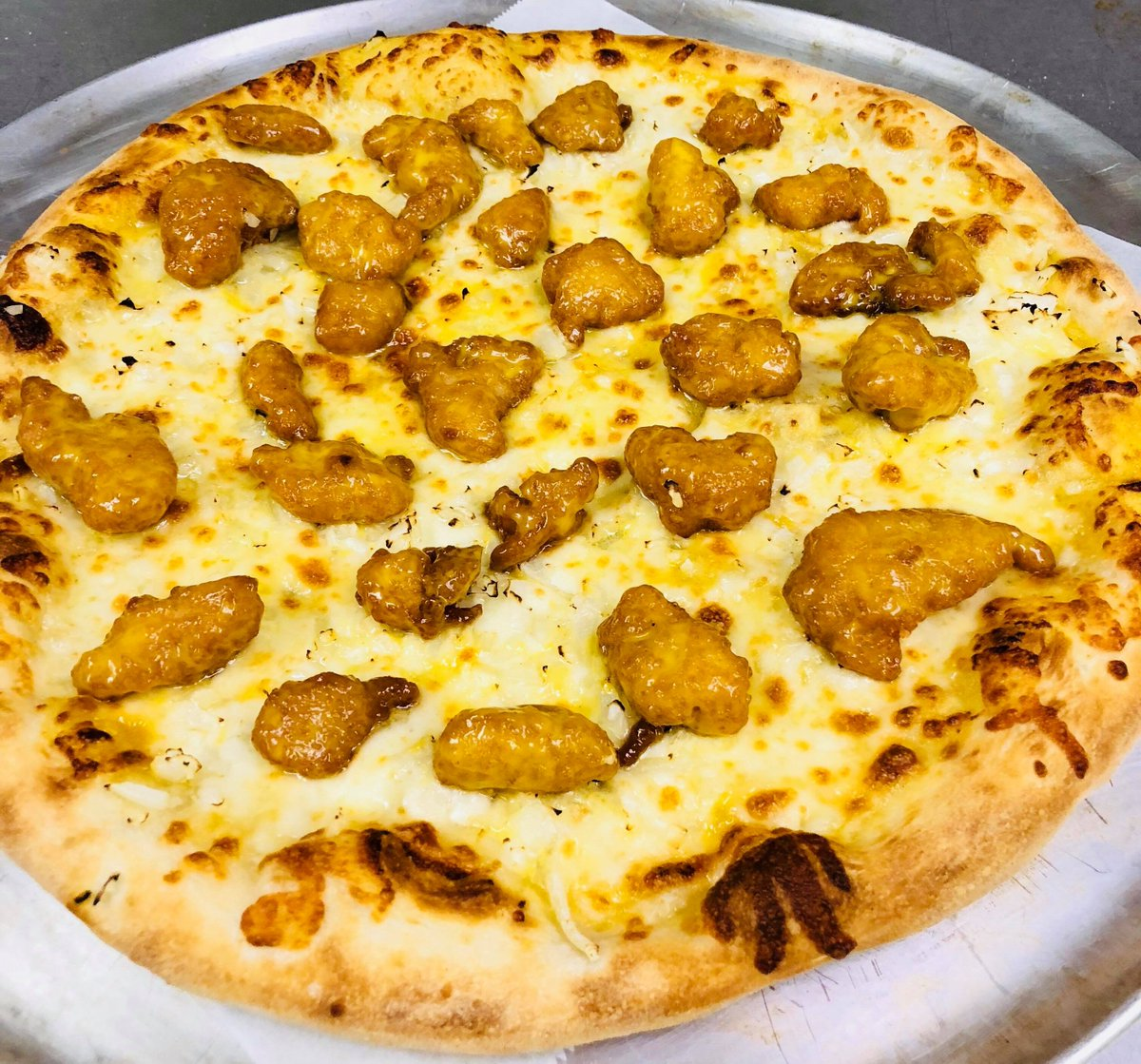 Queen Pizza En Twitter Mustard As A Pizza Topping Challenge Accepted Try Our New Honey Mustard Chicken Pizza We Start With Our Homemade Honey Mustard Then Layer With Grande Cheese Crispy Chicken And