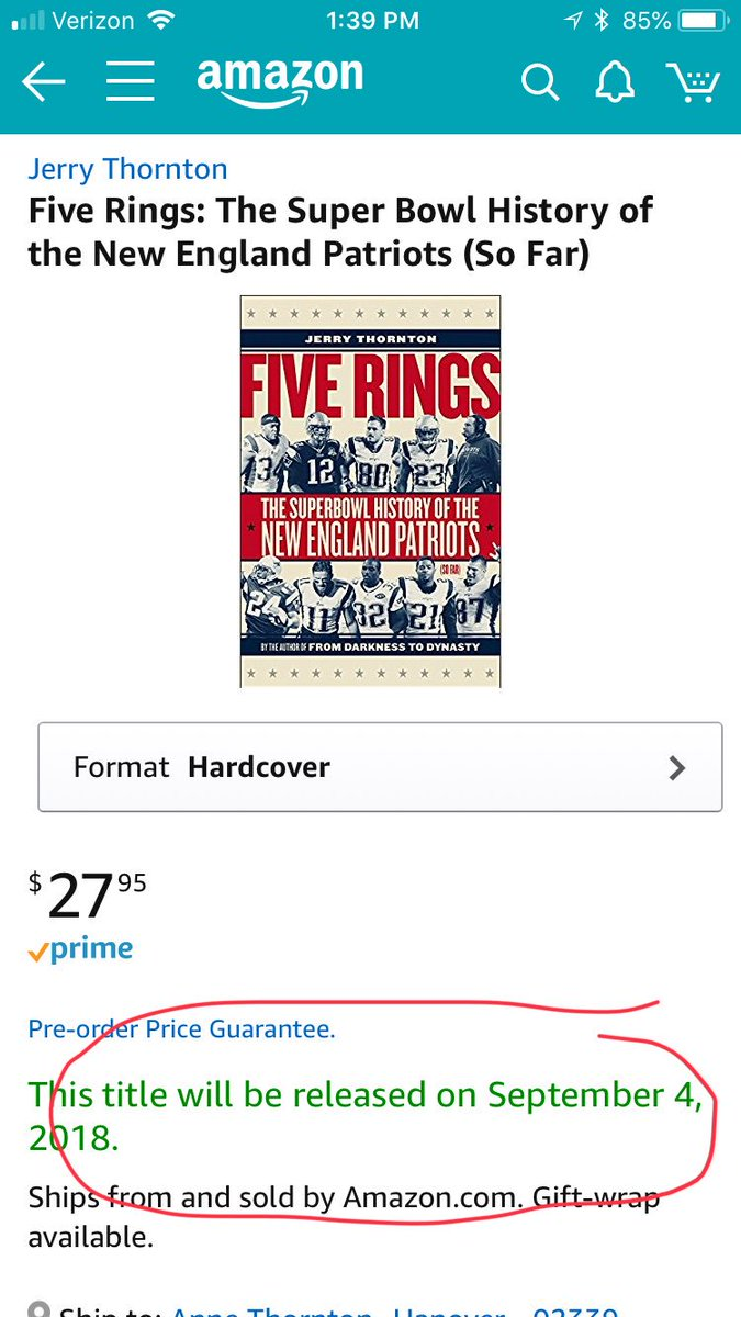 Get it for yourself or give someone you love the gift of lasting dynastic greatness. https://www.amazon.com/Five-Rings-History-England-Patriots/dp/151260271X/ref=sr_1_15_nodl?ie=UTF8&qid=1531764640&sr=8-15&keywords=five+rings…