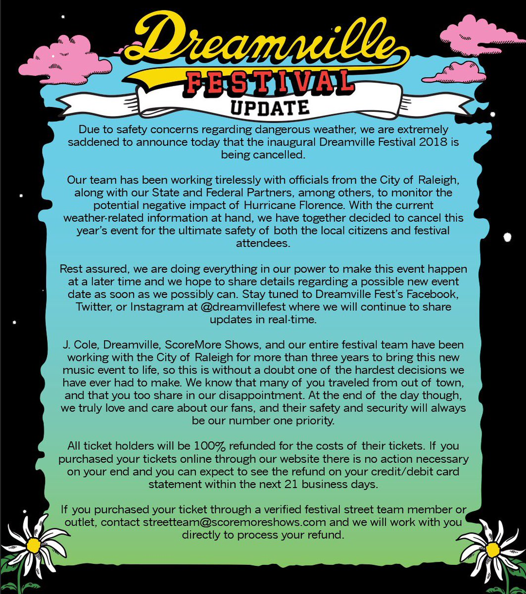 dreamville on twitter due to imminent weather and safety concerns