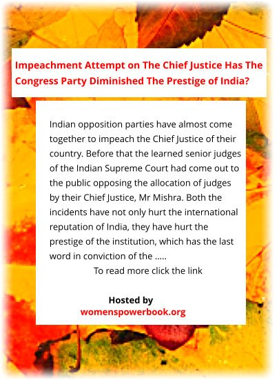 #ThoughtForTheDay #CountryDuty World's knowledge in one hand site explains: #Impeachment is bad. When done by the #SupremeCourt judges it is #bad for the #country itself. Were Indian #SupremeCourt right to impeach their CJ?