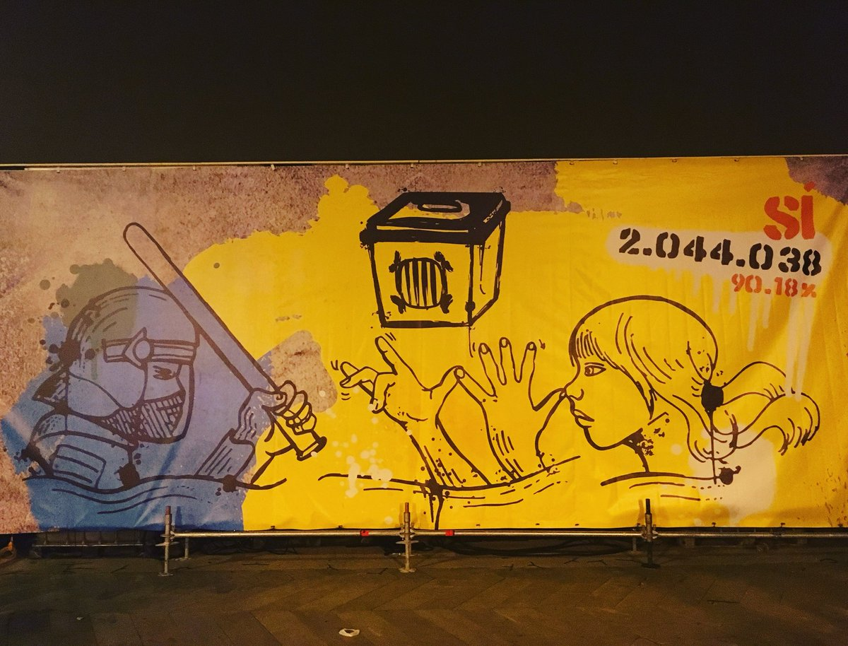 Today #11Sep many people will celebrate the #Diada, the National Day of #Catalonia, with a big demonstration in #Barcelona. This street painting will be at its starting point, remembering the #1Oct vote in 2017 when more than 2 million people voted despite police violence<br>http://pic.twitter.com/GmMltO1A9L