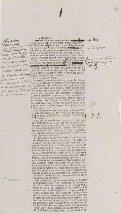 Parmi les trésors de @laBnF exposés pour les #JEP2018 , on pourra admirer l'exemplaire annoté du Discours d'ouverture prononcé au Congrès de la Paix du 21 août 1849 par Victor Hugo, conservé à la Réserve des livres rares. Découvrez le programme complet Photo