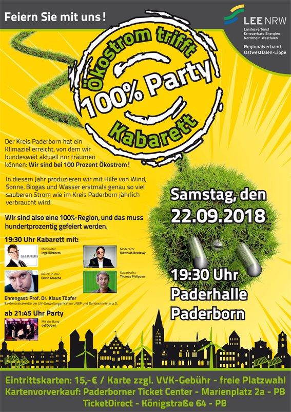 100% #Party - #ÖkoStrom trifft #Kabarett am 22.9.2018 um 19:30 Uhr in der #PaderHalle #Paderborn. Mit dabei: #MatthiasBrodowy, #IngoBörchers, #ErwinGrosche, #AGNTrio, #ThomasPhilipzen und #deSoulart.pic.twitter.com/CmWcDxueDI
