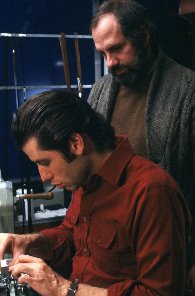 Happy 78th birthday to Brian De Palma, seen here with John Travolta on the set of \Blow Out\ (1981).