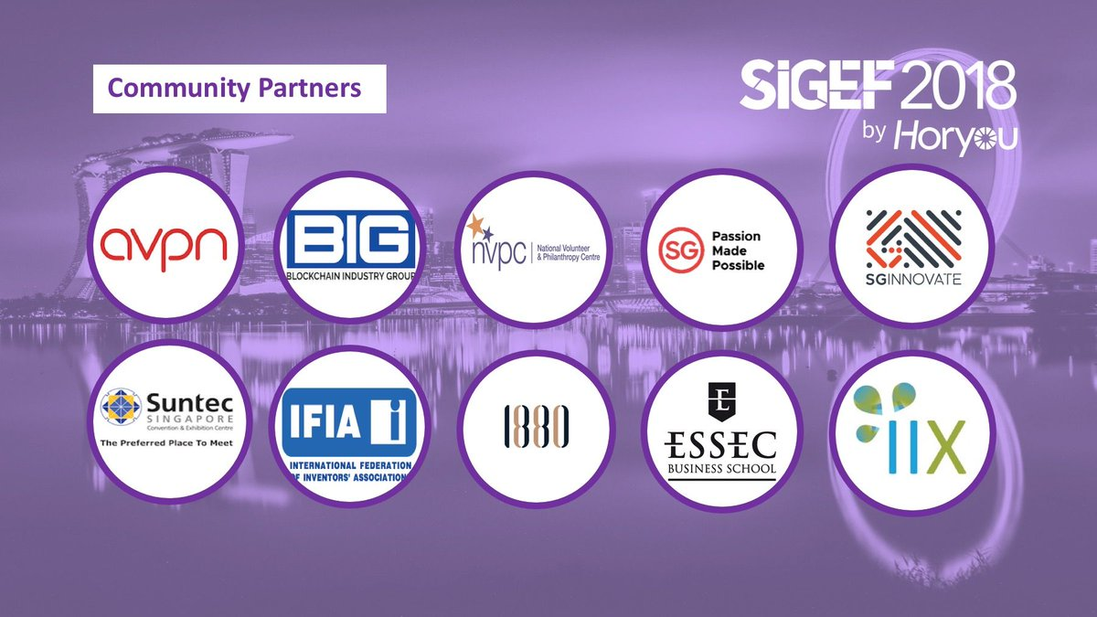 Join #SIGEF2018 and meet our Community Partners, who share our vision and support social inclusion! #socimp #innovation #ethics #inclusion #impact #sustainability #ASEAN #SuntecSG #Singapore #Asia #blockchain #philanthropy #CSRpic.twitter.com/kM2fEUHGnS