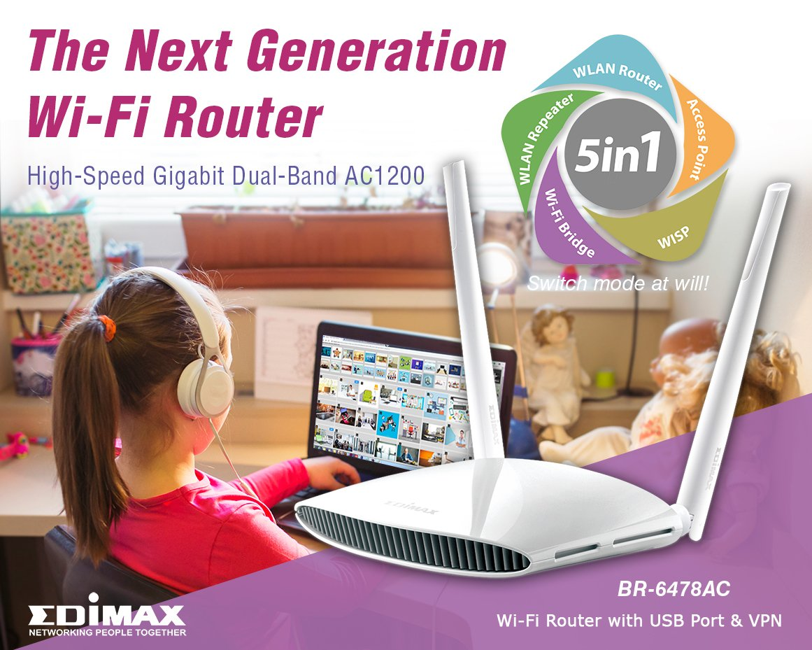 Edimax Me Edimaxme Twitter Br 6478ac V2 Ac1200 Gigabit Dual Band Wifi Router Wi Fi With Usb Port Vpn Offering Extraordinary Improvements In The Speed Reliability And Quality Of