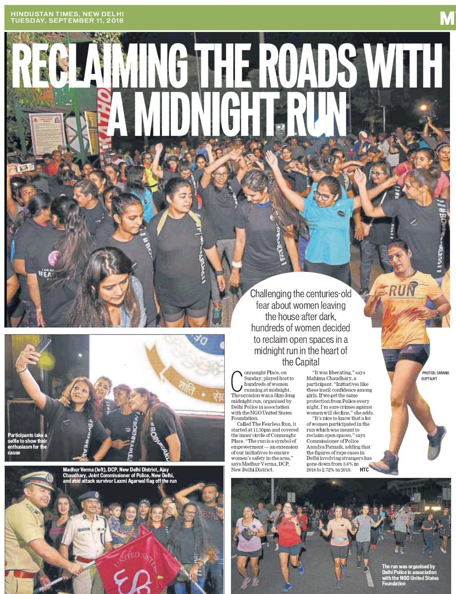 Amazing response of women in Delhi and NCR who turned up for participation in the fearless midnight run. Together we all can ensure safety and security in all public places !