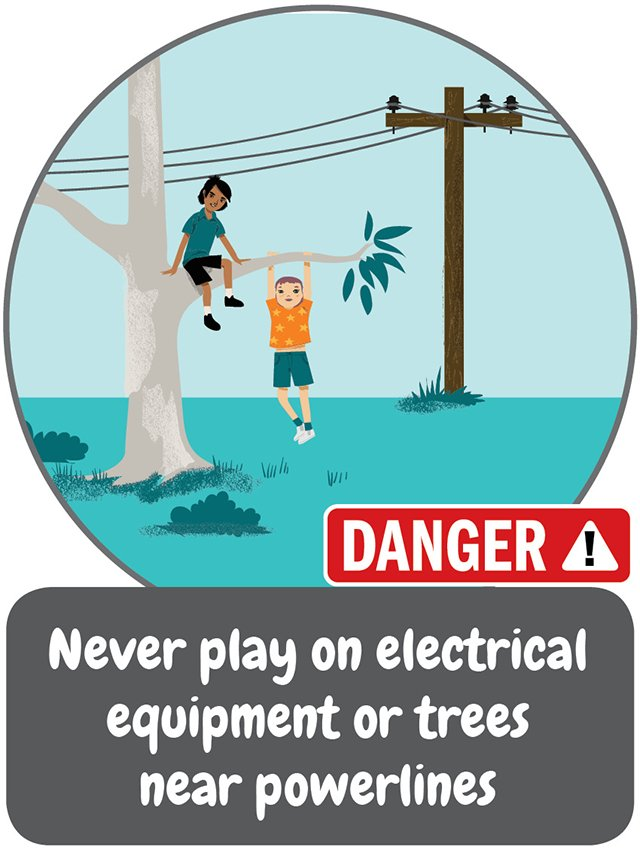 Electrical Safety Week tip #2 - Never play on electrical equipment or trees near powerlines. #ESW2018 #beasafetystar https://t.co/zyqZ2sASJo