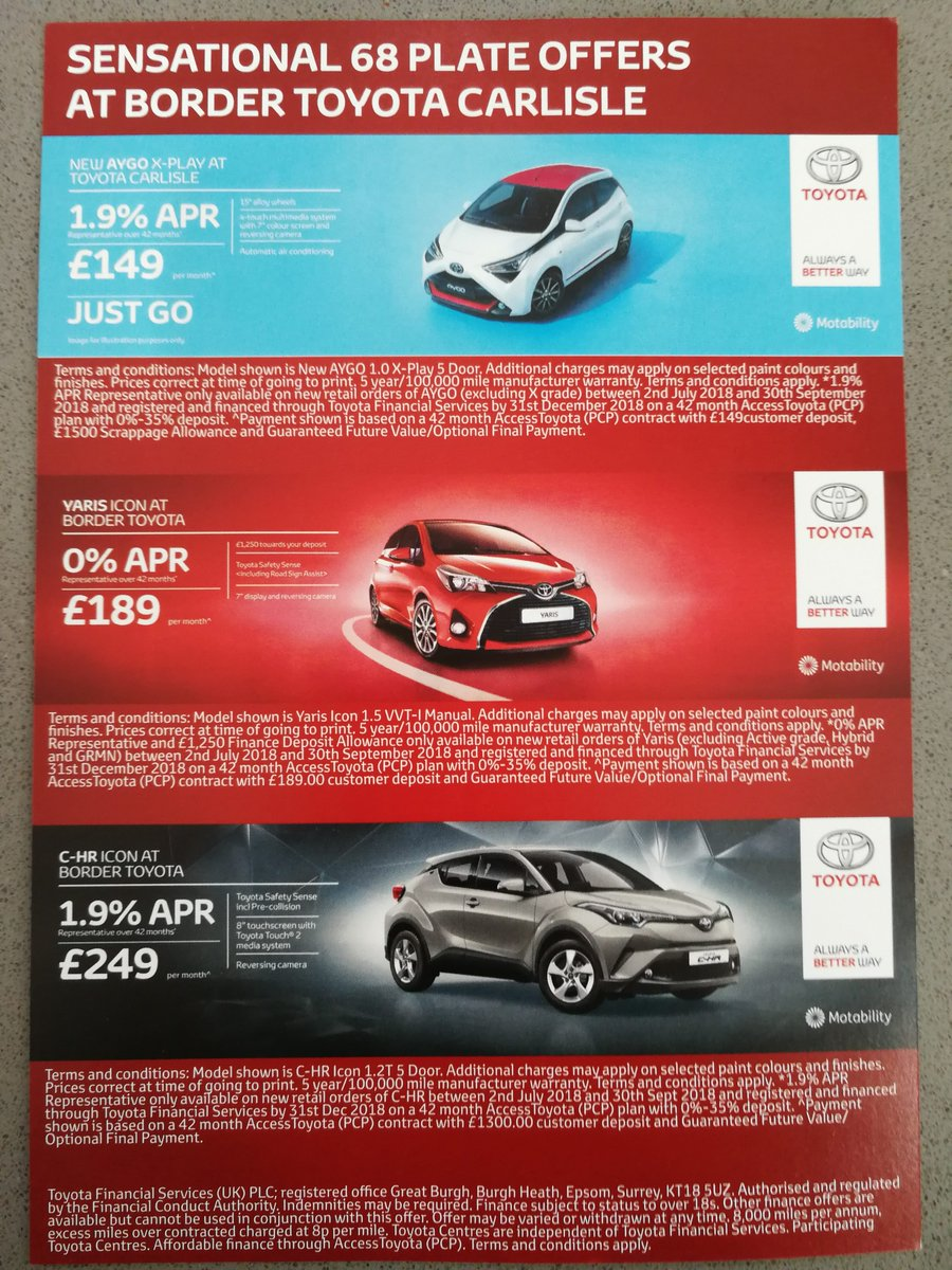 New 68 Reg OFFERS at Border TOYOTA Carlisle  Sensational Offers @BorderMotorGrp  Professional GPS Leaflet Distribution Cumbria @LetterboxSmart   #Marketing #Advertising #Cumbria #TOYOTA #Car #Sales #ROI #Leaflet #doortodoor #GPS https://t.co/8STg9MZs45