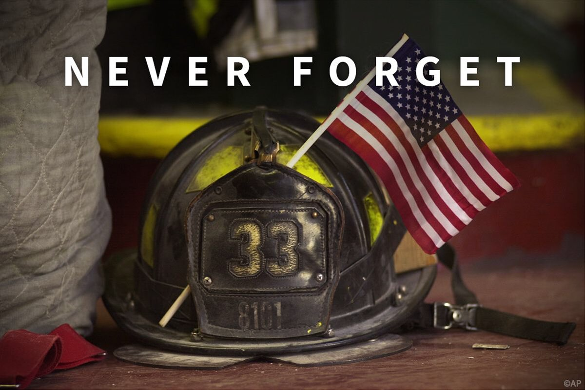 We grieve for all the families who lost their loved ones on 9/11, and honor the heroes who rushed into the darkness to save lives. We will #NeverForget.