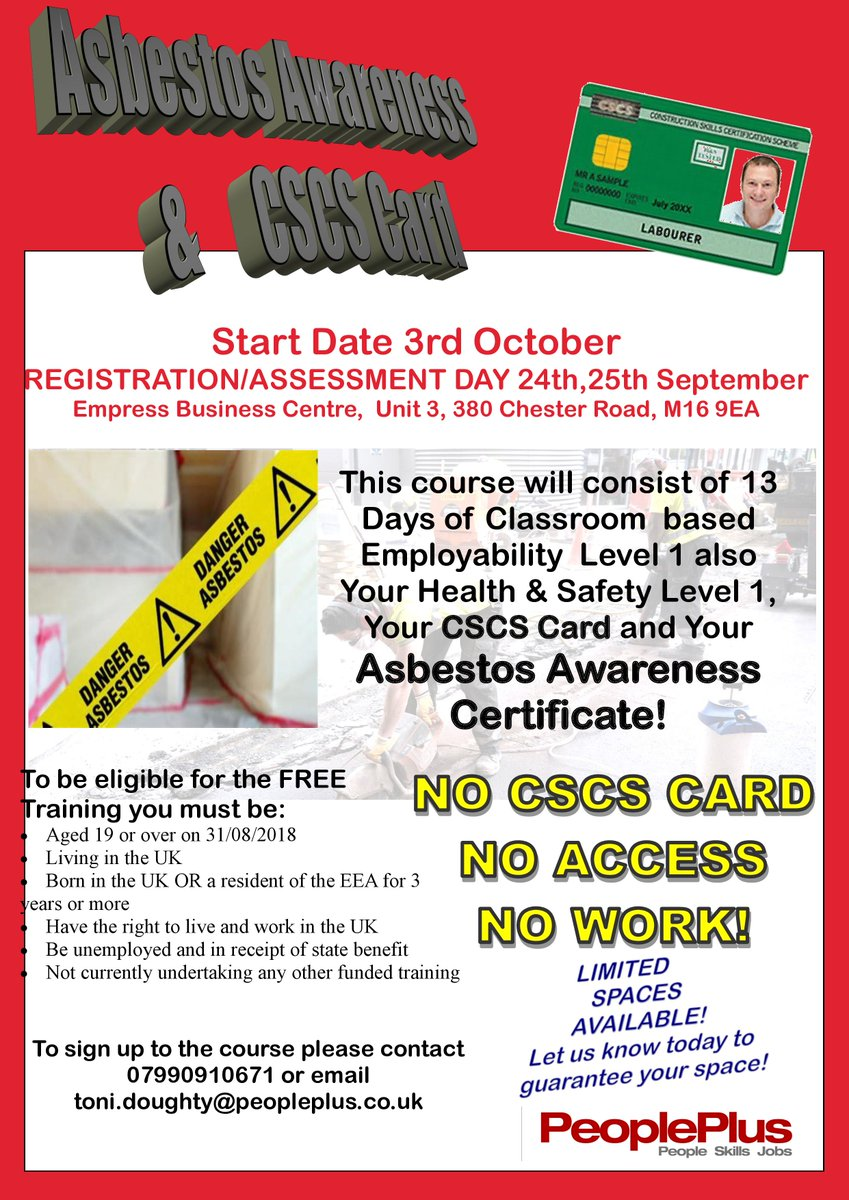 health safety level 1 and your asbestos awareness certificate limited spaces available on this amazing course not to be missed cscs cscscard