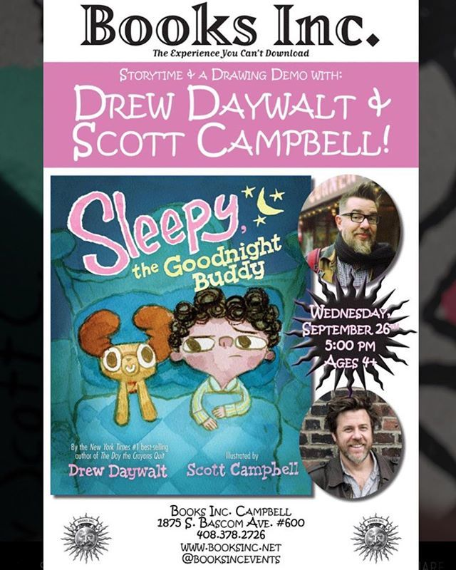 Join Drew Daywalt, Sleepy and I tomorrow night at Books Inc in Campbell, CA at 5pm!!! It will be the best! My PARENTS WILL BE THERE! @books_inc @disneybooks #sleepythegoodnightbuddy #bedtimestories #sleepy https://ift.tt/2xPs2VQ