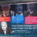 Think @JulianAssange isn't under threat by the US? Poster outside the Ecuadorian Embassy in London. https://t.co/0IW4whrEvF #FreeAssange