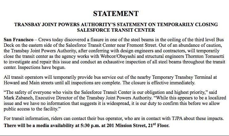 #BREAKING : The Transbay Transit Center has been shut down after the discovery of a fissure in one of the steel beams in the ceiling of the third level Bus Deckhttps://t.co/CrxZsEpIw2.