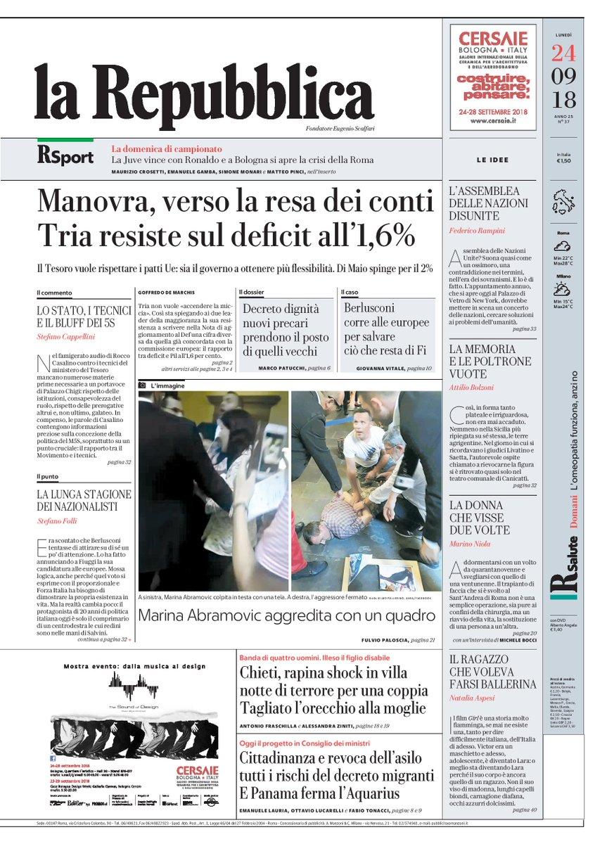 #Manovra, verso la resa dei conti. #Tria resiste sul #deficit all'!,6% - Buongiorno, ecco la prima pagina di Repubblica di oggi #24settembre https://t.co/hWrcW6fDJe