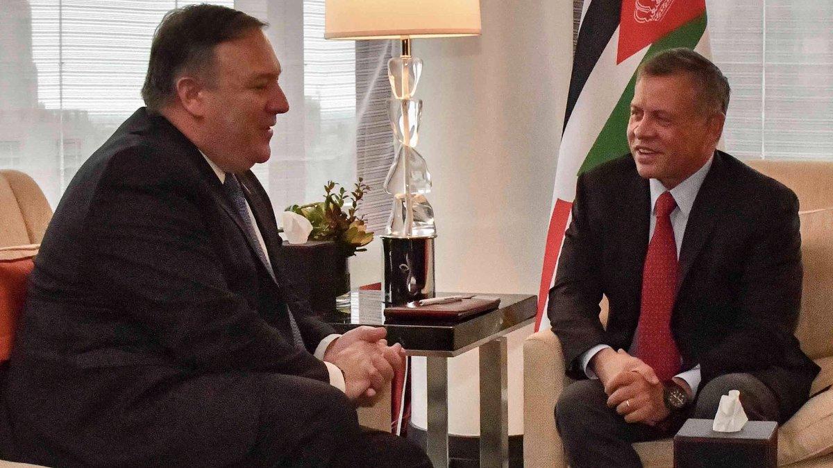 #USA #Pompeo a rencontré le Roi Abdullah II de #jordanie Ils se sont réaffirmé le lien solide et le partenariat stratégique entre les #€tatsUnis et la Jordanie, et se sont engagés à progresser sur les questions régionales clés.#Jordan  - FestivalFocus
