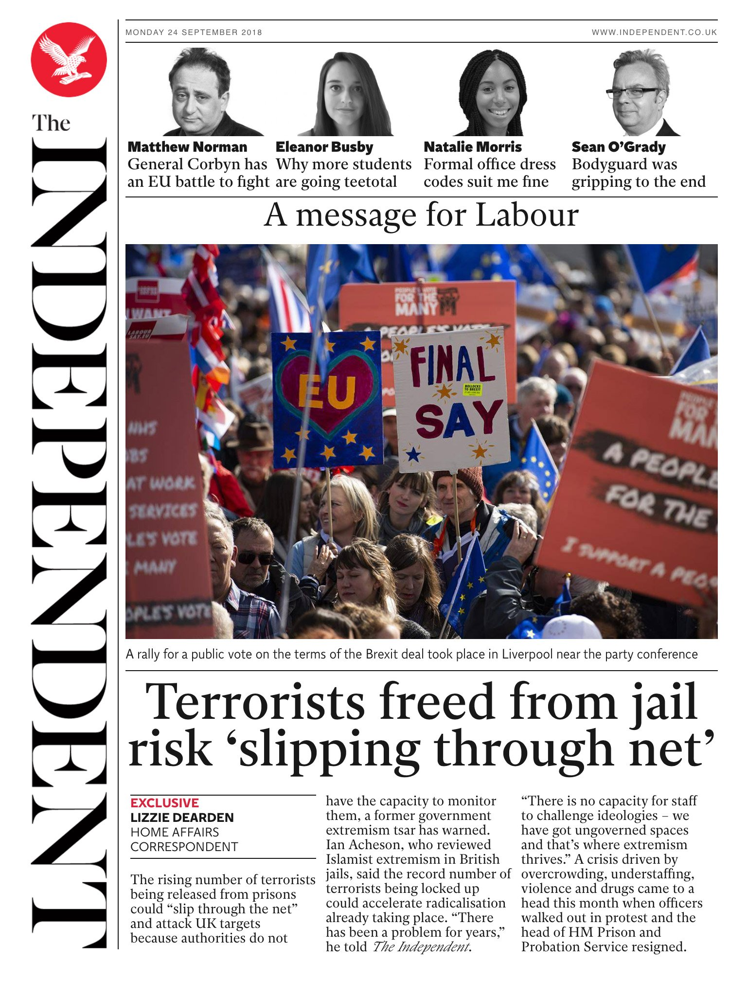 Tomorrow's @Independent front page #tomorrowspaperstoday To subscribe to the daily edition: https://t.co/ozdV9Zd9Si https://t.co/6TPJvx0Jaw