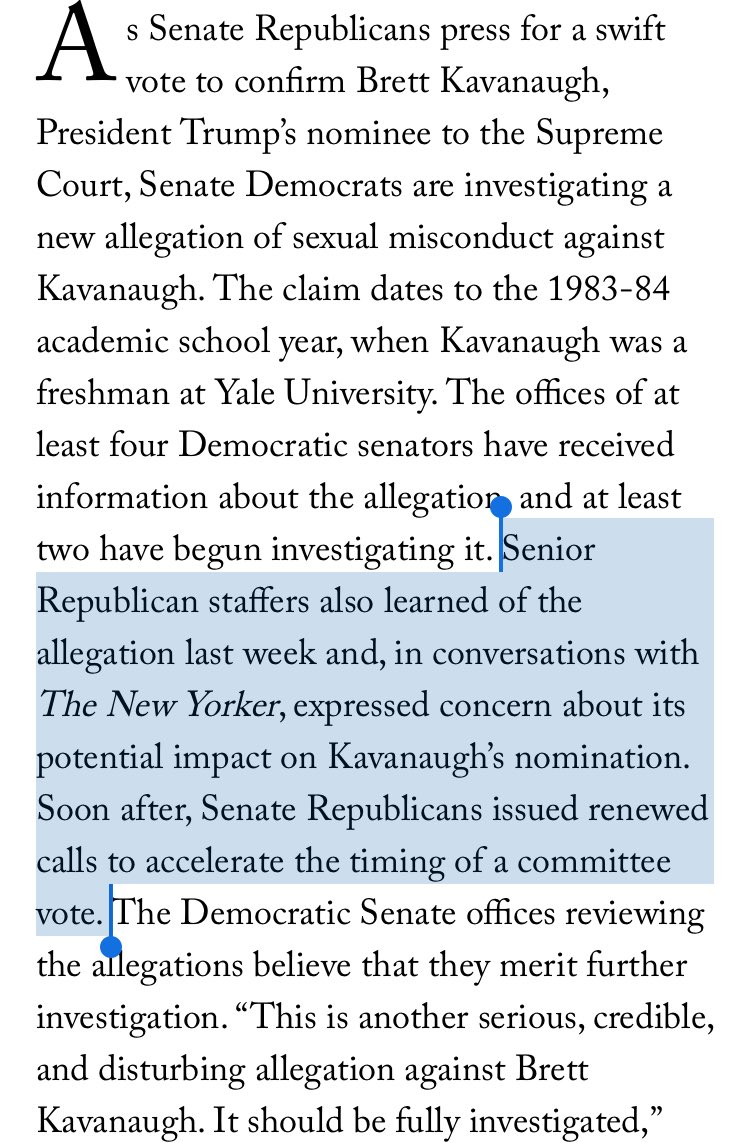 "Soon after learning of the new allegation against Kavanaugh, ""Senate Republicans issued renewed calls to accelerate the timing of a committee vote,"" @RonanFarrow and @JaneMayerNYer write https://t.co/6PlZaJSAQJ"
