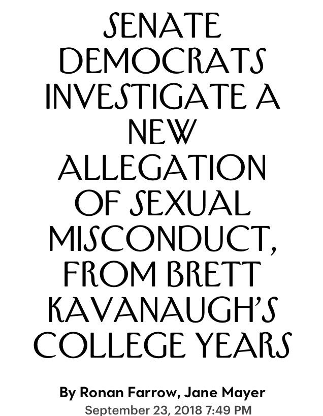 Totally Predictable:   All Part Of The Plan To Delay And Derail #Kavanaugh   Another Woman With 35 Year Old Uncorroborated Allegations Demanding An FBI Investigation  #ConfirmKavanaughNow   https://t.co/X2HkE45tUx