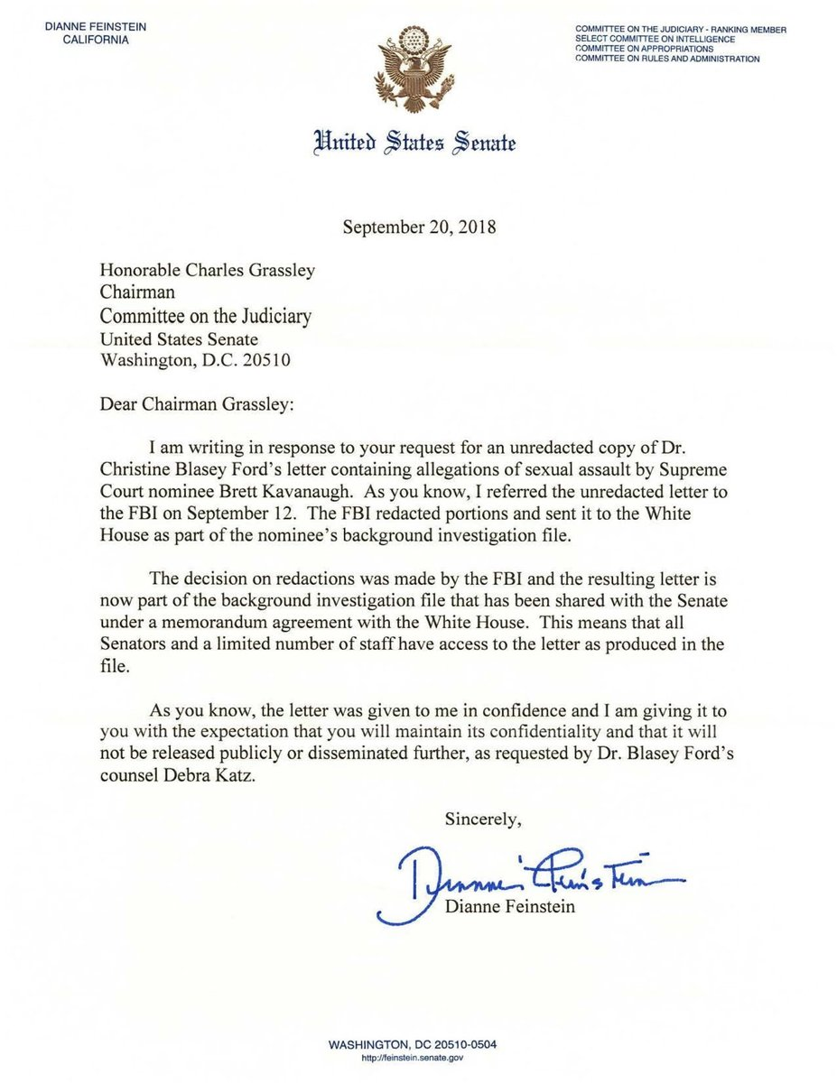 JUST IN: Senate Judiciary Cmte. Chairman Grassley releases original letter that Dr. Ford first sent to Sen. Feinstein, as well as Feinstein's letter to Grassley.