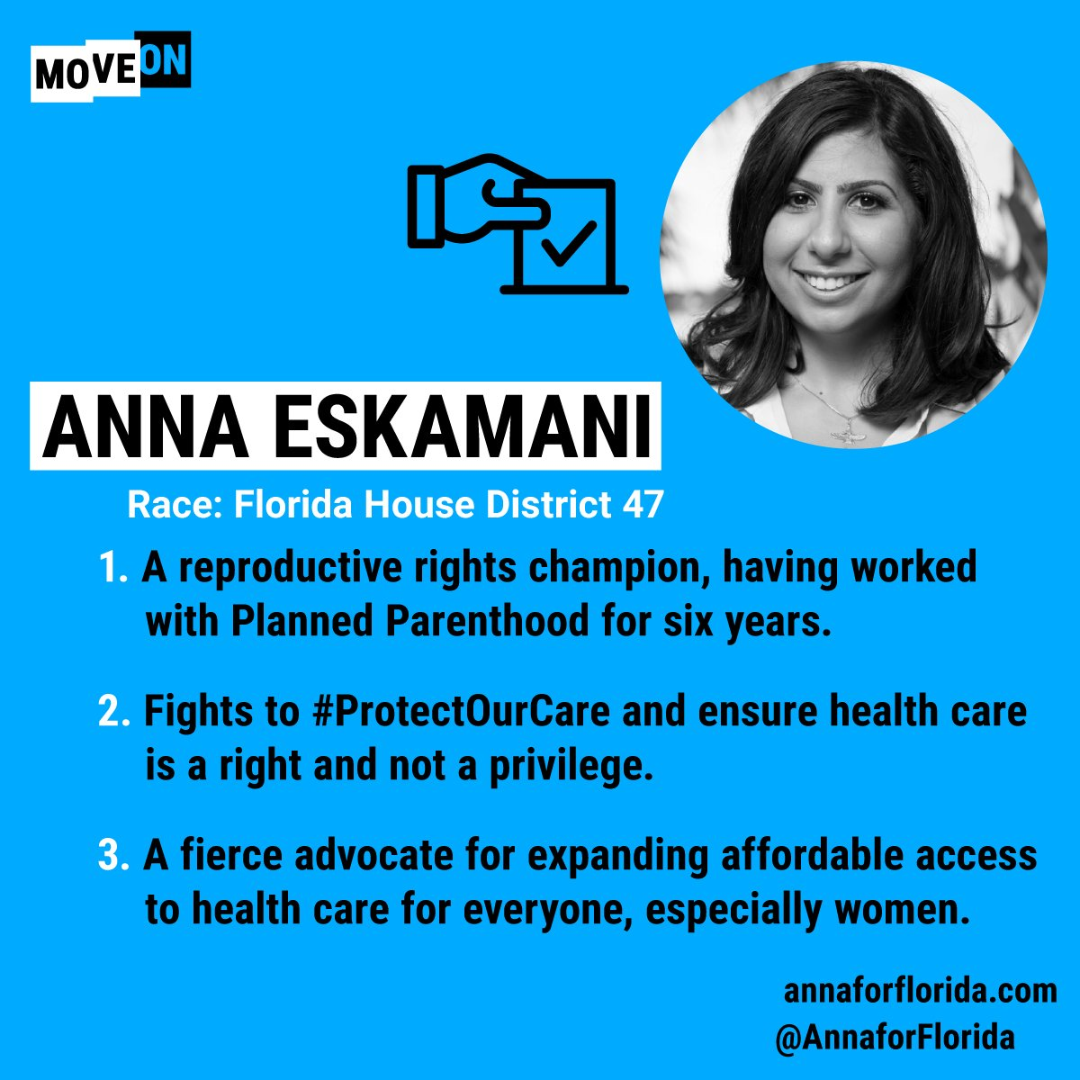 #Florida! @AnnaForFlorida is running for #FL47 and here are just three reasons to knock on some doors & ! Yo#GOTVu can learn about MoveOn's list of progressive champs here: https://t.co/jtinSPTjLI