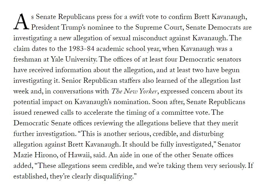 If you were wondering why Senate Rs were so frantic last week about their Kavanaugh timetable, well, here's some critical context from  and    https://t.co/DrkT6UDEu5